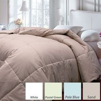 Down and Feather Blend Solid Color Microfiber Comforter- Full/ Queen, color Pastel Green