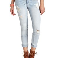 "REFUGE ""SKINNY ROLL UP"" LIGHT WASH DENIM JEANS"