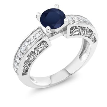 Women Fine Jewelry Round Blue Sapphire Sterling Silver Ring