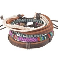 MJartoria Unisex PU Leather Hemp Cords Beaded Multi Color Strands Adjustable Wrap Bracelets Set of 4