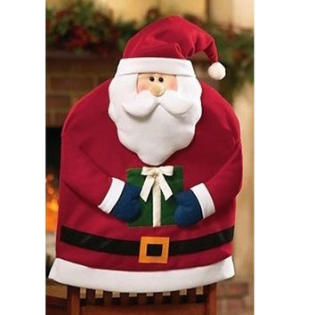 Mr Santa Claus Father Christmas Kitchen Dining Table Chair Back Cover Decor