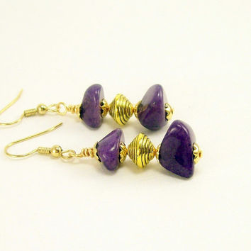 Purple Jade Gemstone Earrings~ Rustic Chunky Bead Earrings~ Gemstone Jewelry~ Jewelry for Women~ Handmade~ Beaded Jewelry