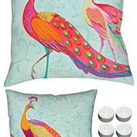 """Manual Woodworkers SLPFTR Perfect Trio Peacock 18""""x18"""" Reversible Indoor Outdoor Pillow with 6-Pack of Tea Candles"""