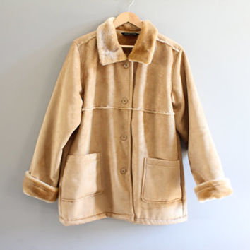 Suede Fur Coat Faux Fur Lining Tan Faux Suede leather Boho Jacket Oversize Vintage 90s Size XL  #O200A