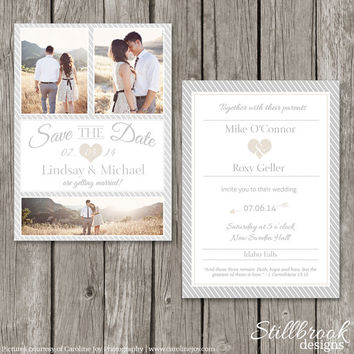 Wedding Invitation & Save The Date Template Set - Printable Simple Modern Wedding Invite - Save The Date Card - WSD01