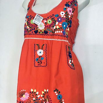 Mexican Traditional Embroidered Halter Dress Orange