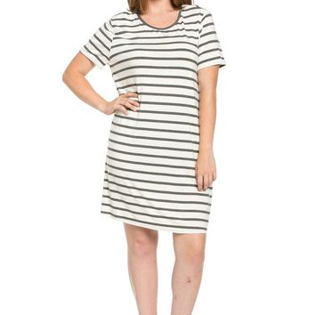 All About Stripes Dress Plus Size Charcoal