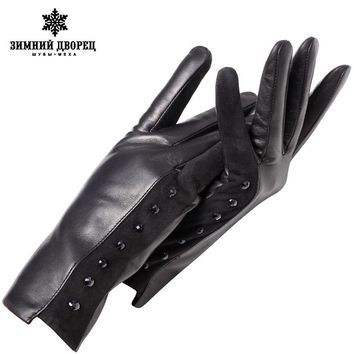 Genuine Leather glove Top Grade gloves female Fashion leather gloves Vintage winter gloves women black Diamond design