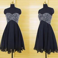Tulle Black Sequin Homecoming Dress, Tulle Black Homecoming Dresseses