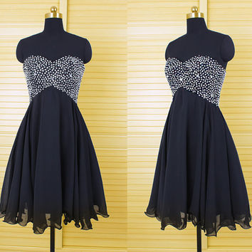 Homecoming Dress,Black Crystal Beadings Strapless Chiffon Short Prom Dress