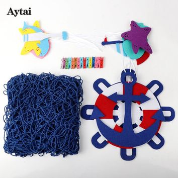 Aytai Creative Nautical Wedding Decorations DIY Fishing Net Sea Anchor Wheel Ornaments Wall Beach Wedding Vintage Home Decor