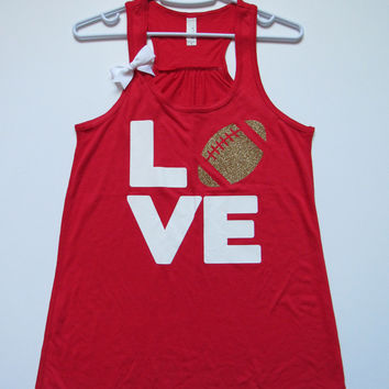 SALE - SMALL - LOVE FOOTBALL TANK - Ruffles with Love - Womens Fitness - Workout Clothing - Workout Shirts with Sayings
