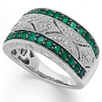 Emerald (1/2 ct. t.w.) and Diamond (1/10 c.t. t.w.) Antique Band in Sterling Silver | macys.com