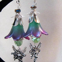 Lucite Flower Fairy Earrings Hand Dyed and Painted  Purples/Greens Vintage Style Mothers Day SALE 50% OFF