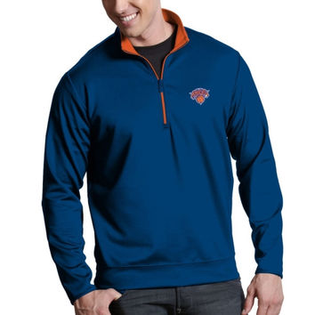 New York Knicks Antigua Leader Midweight 1/4 Zip Pullover Jacket – Royal Blue