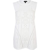 White laser cut pattern tank top - plain t-shirts / tanks - t shirts / tanks / sweats - women