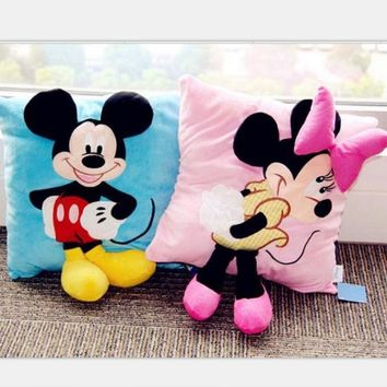35cmHot Sale Staffed Animal Pillow Cushion Cute Mickey Mouse and Minnie Mouse Plush Toys Gifts for KIds Girls