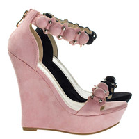 Stephy42 Dusty Pink By Forever Link, Super Tall Platform Wedge Sandal W Bullet Metal Hardware Detail w Bead