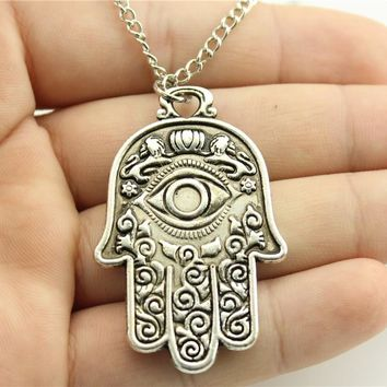 Vintage Antique Bronze And Silver Hamsa Hand Pendant Necklace- With The Third Eye.