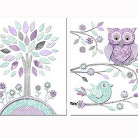 Nursery art toddler room decor Baby girl wall artwork for kids mint purple owl baby shower decoration gift playroom poster pastel print