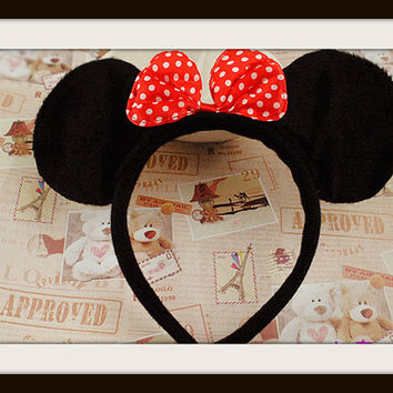 Baby infant size minnie mouse ears headband black with red bow baby boy baby girl Disney