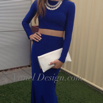 Bridesmaid Dress Long Royal Blue Two piece Mermaid Dress Cocktail Dress Formal Dress Elegant Dress Prom Dress Sexy Dress Classy Dress