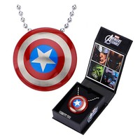 Captain America Shield Pendant with Chain Necklace - Body Vibe - Captain America - Jewelry at Entertainment Earth