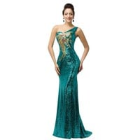 Grace Karin Sexy elegant Purple teal Green Sequin Mermaid Long Evening Dresses trumpet gowns One shoulder Formal Dress 7545