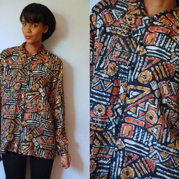 Vtg Silk Abstract Tribal Printed Brown Khaki Button Down LS Shirt