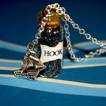 Pirate Captain HOOK Magical Necklace with a Ship Charm, Once Upon a Time, Peter Pan