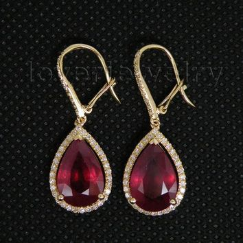 14KT Yellow Gold Vintage Pear 8x12mm Solid Diamond Red Ruby Dangle Teardrop Earrings