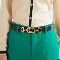 GUCCI Hot Sale Women Delicate Smooth Buckle Leather Belt Width 2.5 CM