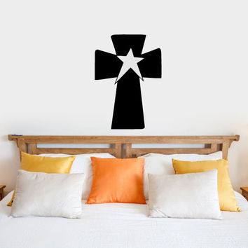 Primitive Cross and Star Vinyl Wall Words Decal Sticker Graphic