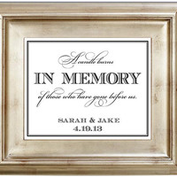 A Candle Burns In Memory of Those Who Have Gone Before Us - 8x10 Wedding Sign Customized Personalized Typography Art Print