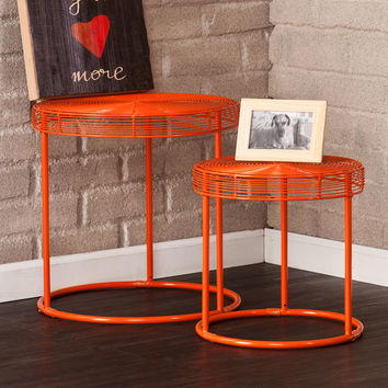 Swirly Orange Nesting Tables