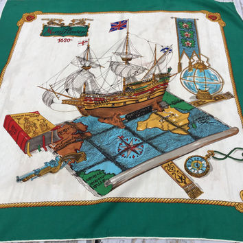 Mayflower Souvenir Scarf . Vintage Tourist Scarf. Green Square Scarf .