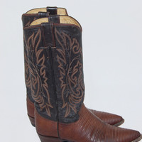 Vintage 80s JUSTIN Cowboy Boots Chocolate Brown Leather & LIZARD Western Boots Size 6.5 Festival Hippie Boho Two Toned Boots