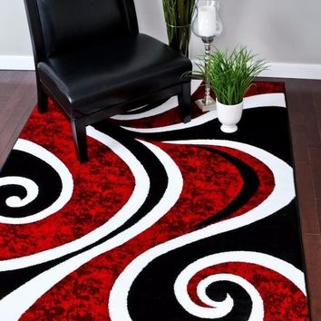 2703 Red Modern Contemporary Area Rugs