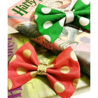 Harry Potter Gryffindor & Slytherin Hogwarts House Pride Metallic Polka Dot Fabric Hair Bow with Glitter Ribbon Center. Holiday, Christmas.