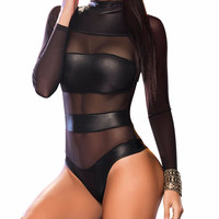 Mesh Striped Bodysuit Romper
