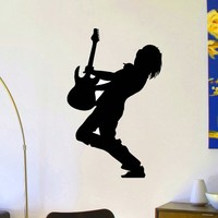 Vinyl Wall Decals Music Guitar Player Silhouette Rock Star Decal Sticker Home Wall Decor Art Mural Z729