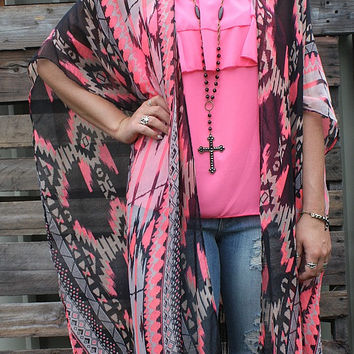 Pushing the Limits Aztec Kimono with Fringe in Neon Pink