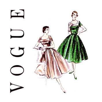1950s Full Skirt Dress Pattern Bust 34 UNCUT Vogue 8578 Square Neckline Day Evening Dress Full Pleated Skirt Womens Vintage Sewing Patterns