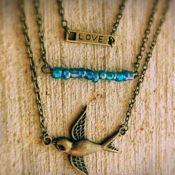 Sparrow multilayer necklace,boho,love necklace,Blue choker,vintage bronze necklace,quote necklace,bird necklace,bar necklace,shabby chic