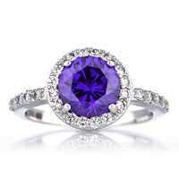 Sterling Silver February Birthstone Ring - Amethyst CZ