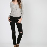 Ripped Knees Skinny Jeans - 11