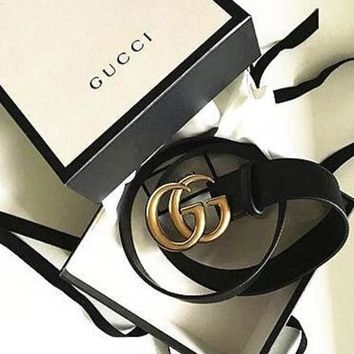 GUCCI Woman Men Fashion Smooth Buckle Belt Leather Belt + Gift Box