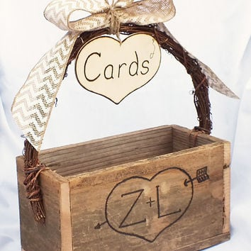 Wedding Gift Card Box With Chevron Burlap Bow-Burlap Wedding Rustic Wedding Barn Wedding Decor