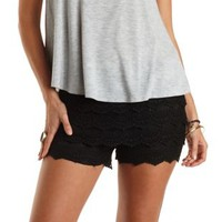 Scalloped Crochet High-Waisted Shorts by Charlotte Russe