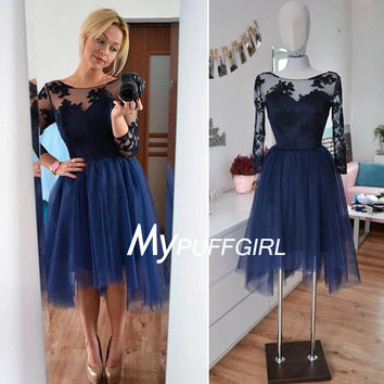 Navy Blue Illusion Long Sleeves Tulle Cocktail Party Dress With Lace Appliques